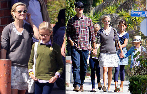 Pictures of Reese Witherspoon, Jim Toth, Ava Phillippe, and Deacon Phillippe Going to Church