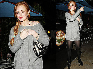 Pictures of Lindsay Lohan Eating Out in LA