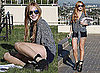 Pictures of Lindsay Lohan Wearing Her SCRAM Bracelet While Reading a Script in LA
