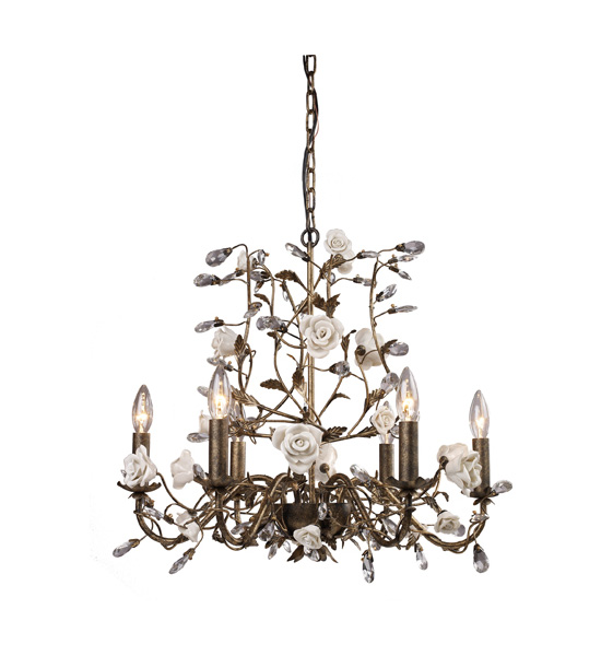 Heritage Six Arm Chandelier