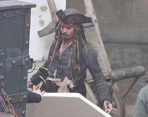 Pictures of Johnny Depp Filming Pirates of the Caribbean 4 in England