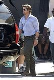 Pictures of Brad Pitt on Set