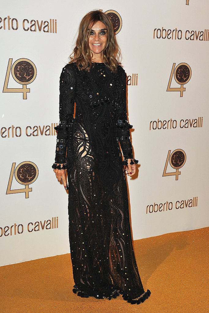 Carine Roitfeld joins the celebration in embellished black.