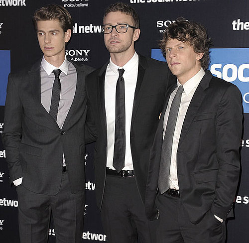 Pictures of Justin Timberlake, Jesse Eisenberg, and Andrew Garfield Promoting The Social Network in Paris