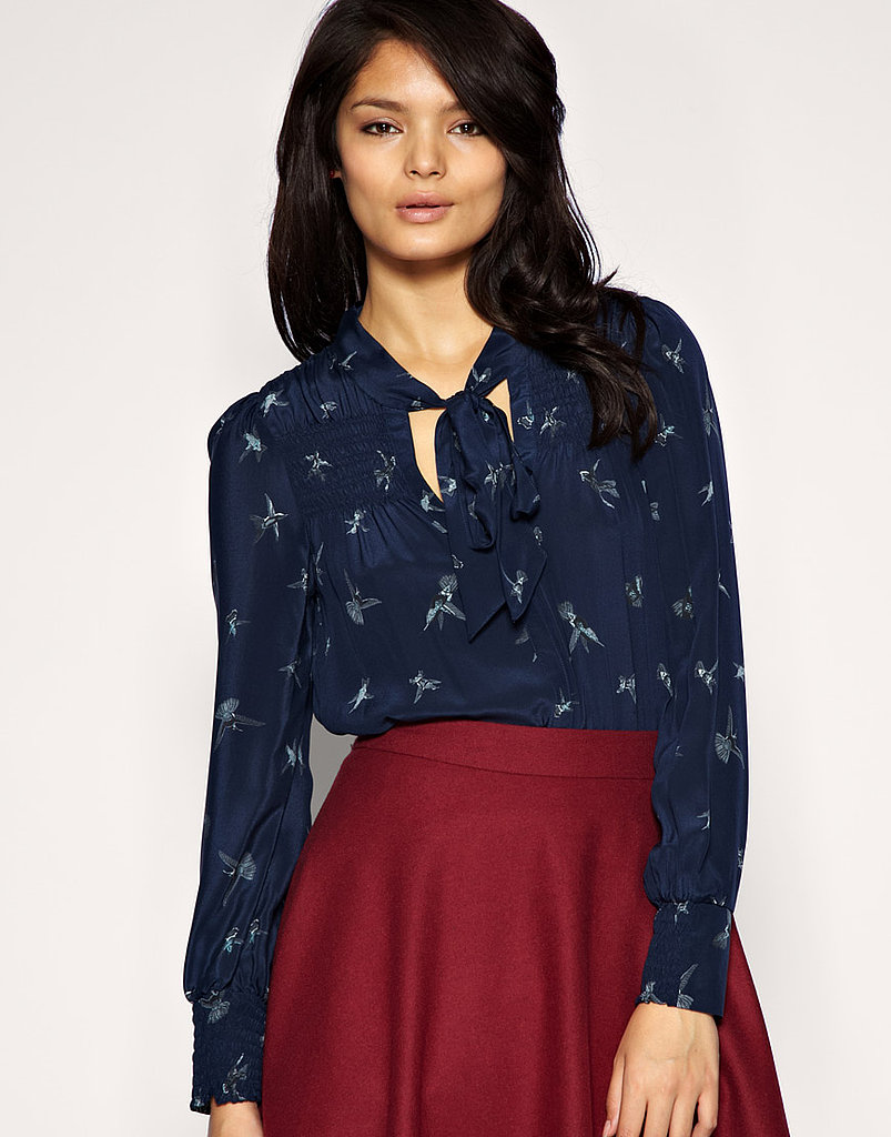 Warehouse Silk Swallow Print Tunic Blouse ($93)