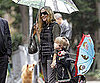 Slide Picture of Sarah Jessica Parker and James Wilkie Broderick Under Umbrellas in NYC