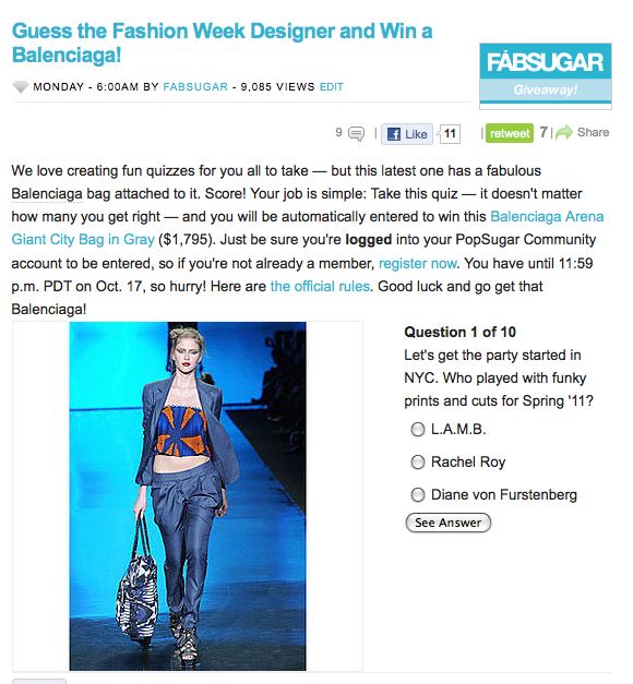 Take our fun Fashion Week quiz and win a Balenciaga bag!