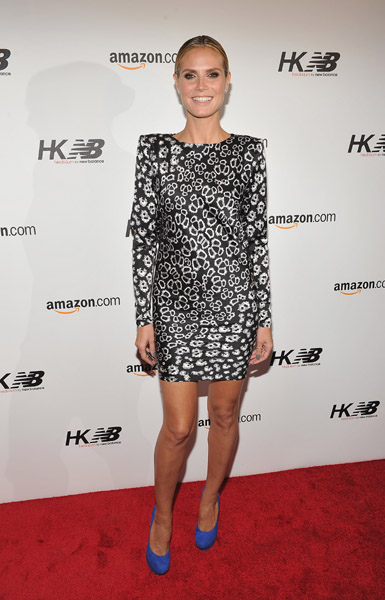 Heidi Klum isn't afraid to show off her wild side — and her hot legs! The blue pumps are a fun addition.