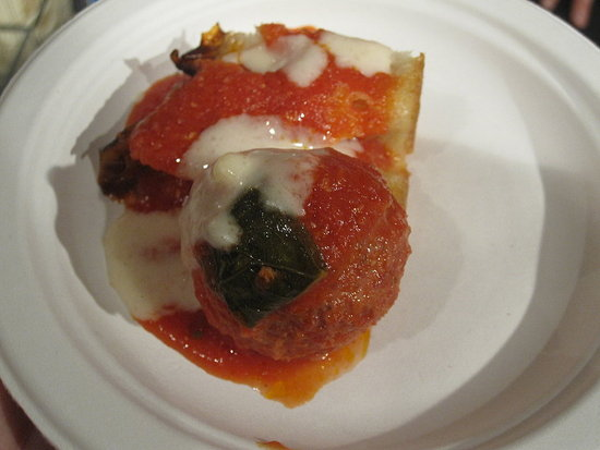 The pepperoni meatball was served with a fonduta.