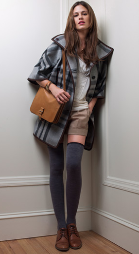 Hannah Coat ($295), Samarie Top ($89), Jacqueline Winter Shorts ($119), Wool Thigh Highs ($24), Audrey Leather Shoulder Bag