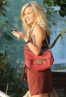 Pictures of Reese Witherspoon in a Hot Red Dress on Set of This Means War