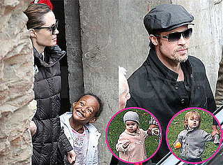 Pictures of Brad PItt, Angelina Jolie, Pax, Zahara, Vivienne, and Knox in Budapest