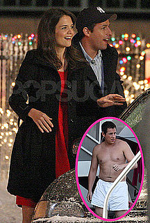 Pictures of Shirtless Adam Sandler and Katie Holmes on the Set of Jack and Jill