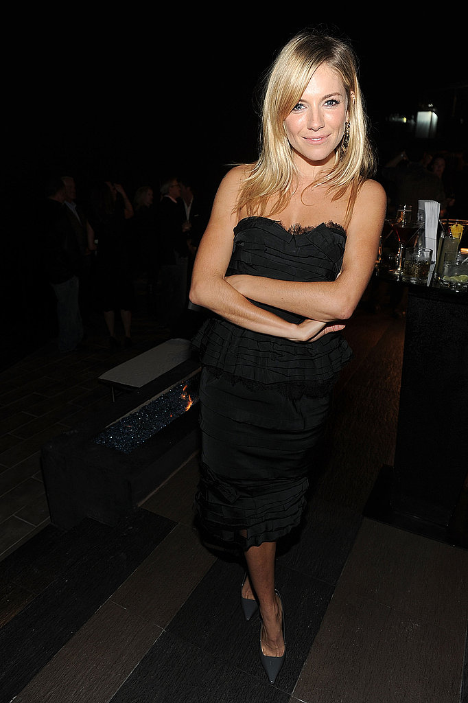 Sienna Miller chose a Nina Ricci LBD with a below-the-knee hemline at a recent soiree in LA.