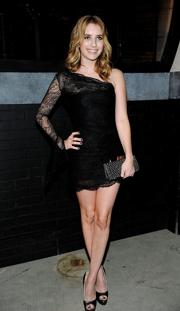 Emma Roberts bared one shoulder in a short, lacy LBD.