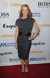 Felicity Huffman wore a sleek gray pencil skirt with a less structured draped top.
