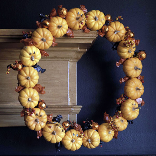 This pumpkin wreath, added to the Lovely Little Vignettes group by define1lady, could take you all the way through to the Thanksgiving season.