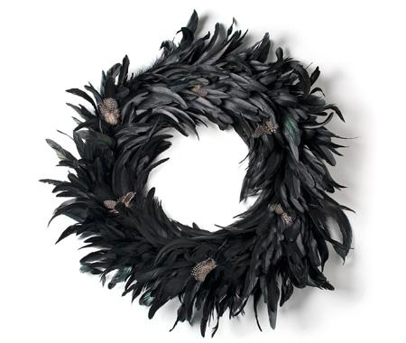 Canadian House and Home goes glam with this feathered wreath. To get the same effect with less time and effort, use a black boa.