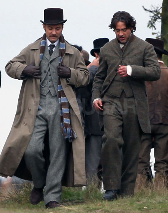 Pictures of Jude Law, Robert Downey Jr and Guy Ritchie Filming First Scenes For Sherlock Holmes 2 in London
