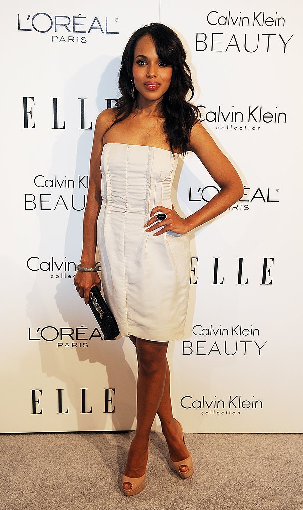Kerry Washington models a white Calvin Klein confection.