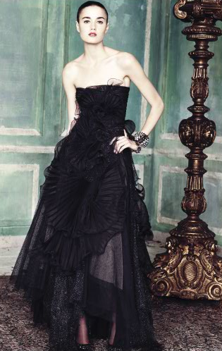 You can never go wrong with a long, black, dramatic gown.