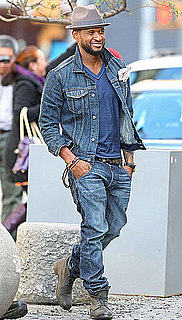 Pictures of Usher Wearing Denim on Denim in NYC