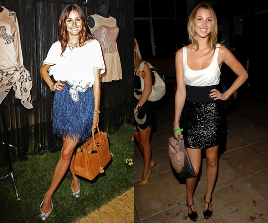 Embellished skirts two ways: one with feathers, one sequined.