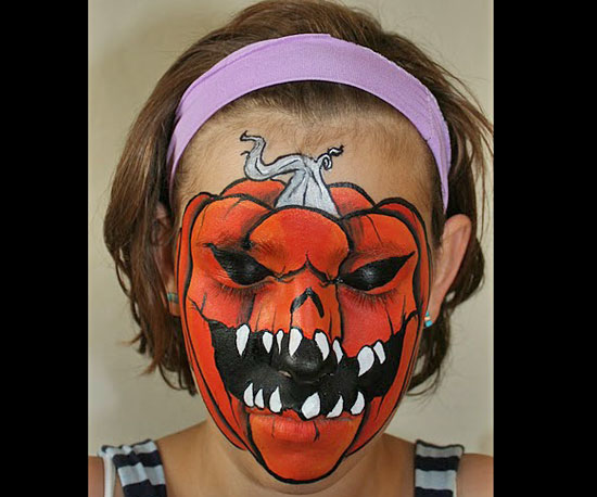 Scary Pumpkin Face Paint
