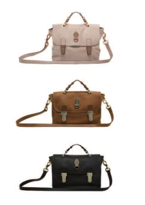 Tillie Satchel in Light Peach Haircalf, Chestnut Soft Matte, and Black Soft Matte