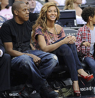 Pictures of Jay-Z and Beyonce at a New Jersey Nets Game