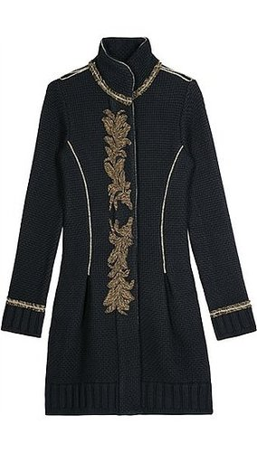 Roberto Cavalli - EMBROIDERED KNIT COAT