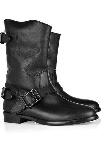 Burberry - Shearling-lined leather biker boots