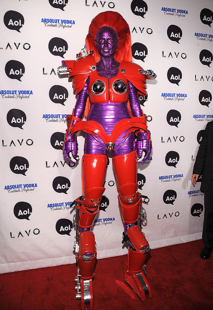 The undisputed queen of Halloween, Heidi Klum towered over her party guests in her robot costume. I just hope she didn't run into any trick-or-treaters.