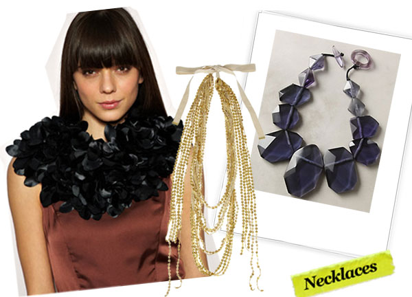 Asos Blakegodbold Silk Petals Shoulder Neck Piece ($95), By Malene Birger Tulle and Sequin necklace ($70, originally $200), Anthropologie Monumental Necklace ($168)