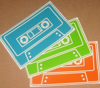 Photos of Retro Cassette and Robot Stickers