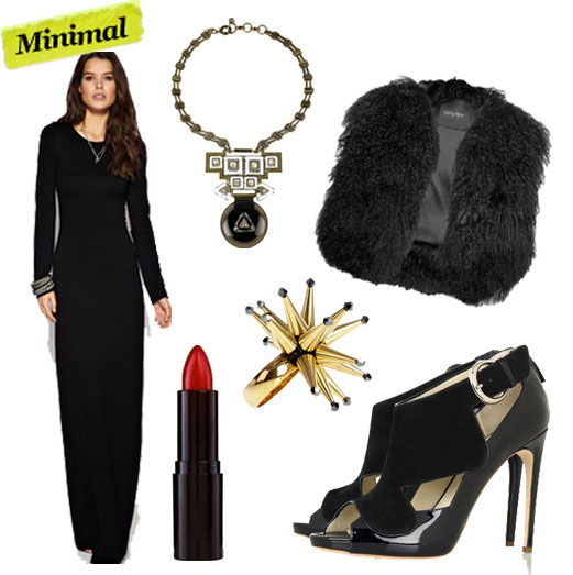 Just Female Scoop Back Maxi Dress ($104), Lanvin Clou Diamants Necklace ($3,140), Wyler Mongolian Lamb Cropped Vest ($1,125), Rimmel London Jet Set Red Lipstick ($5), Merle O'Grady Gold Spike Ring ($244), Rupert Sanderson Khyber Sandals ($488, originally $975)