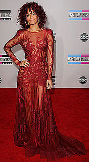 Rihanna in a red hair and red dress at the 2010 American Music Awards