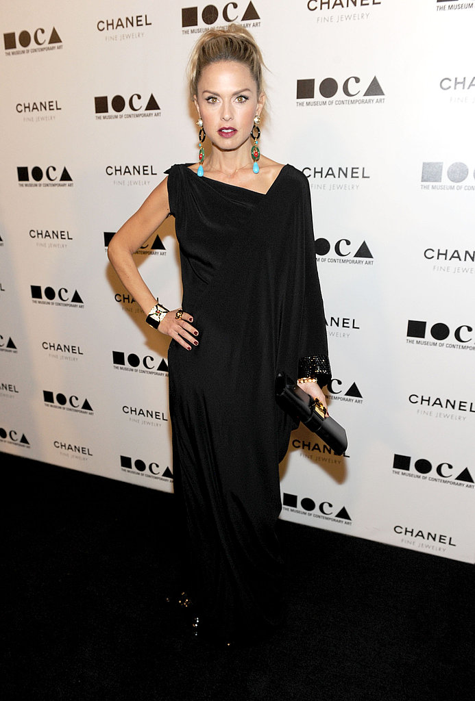 Rachel Zoe wowed with dramatic jewels and a draped, asymmetrical gown.