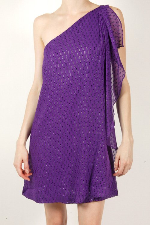 """""""The bold color and pattern make for a fun party dress. I would dress this up with a lot of statement jewelry."""" Halston Heritage Tiered Ruffle Cocktail Dress ($325)"""