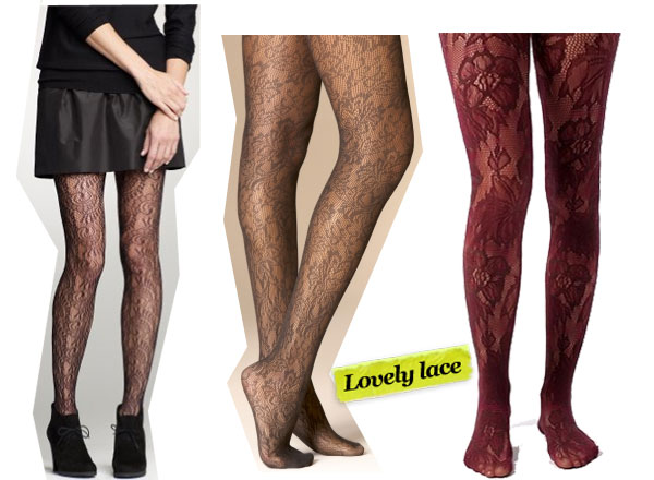 J.Crew Lace Tights ($23), Urban Outfitters Tuscan Floral Tights ($14), The Limited Lace Tights ($20)