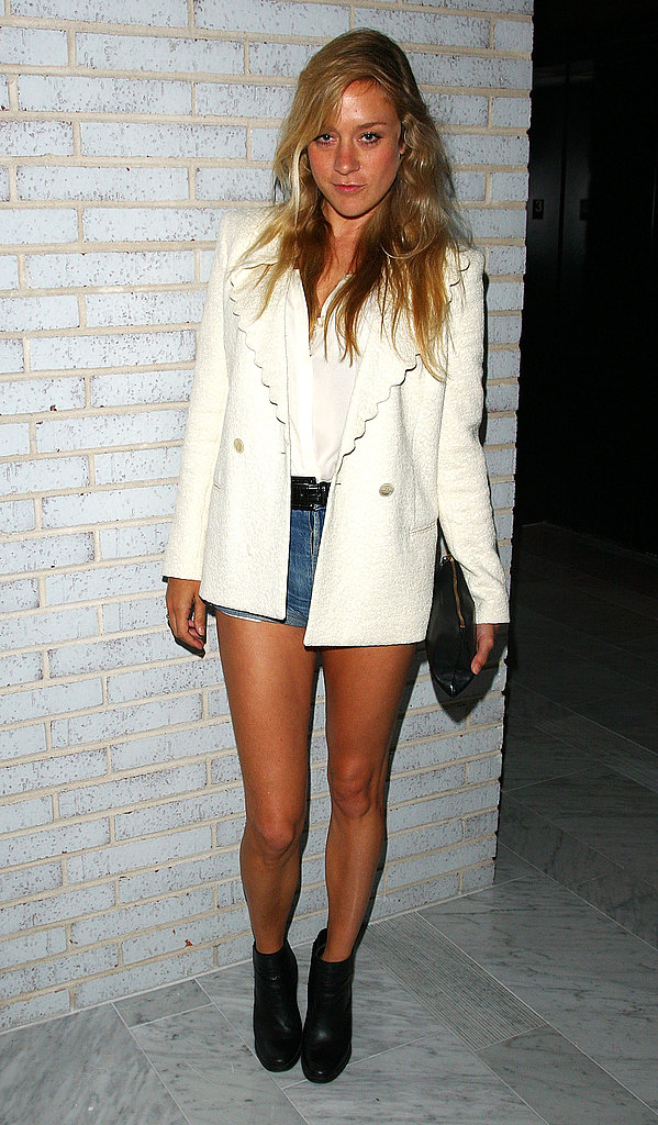 A very '90s moment in a white blazer and cutoff denim at a party for Calvin Klein in June '09.