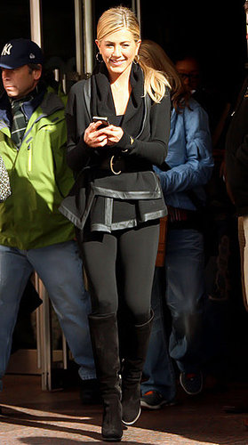 Pictures of Jennifer Aniston Filming Wanderlust in NYC Wearing All Black With an iPhone 4