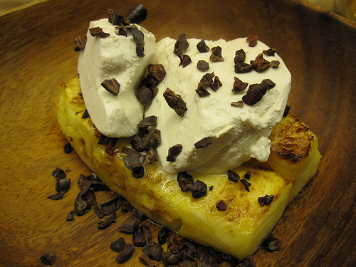 Grilled Pineapple w/ Vanilla Coconut Ice Cream & Cacao Nibs