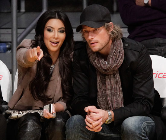 Kim Kardashian With Gabriel Aubry at a Lakers Game