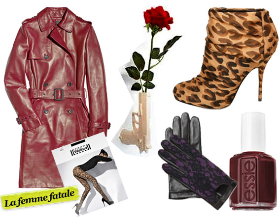 Joseph Biba Leather Trench Coat ($2,450), Wolford Leo Tights ($65), Suck U.K. Wall Mounted Gun Vase ($35), Diane von Furstenberg Lace Gloves ($145), Elizabeth and James Chiffon Leopard-Print Bootie ($395), Essie Tomboy No More Nail Polish ($8)
