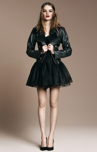 Double-Sided Sheepskin Jacket ($369), Strapless Studio Tutu Dress ($90), Basic Knit Court Shoe ($90)