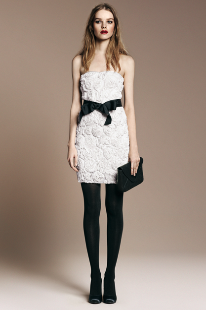 Romantic Flower Dress ($70), Stockings ($16), Chain Clutch