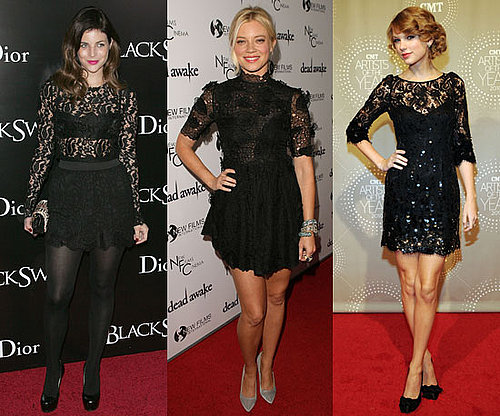 Pictures of Celebrities in Lacy Black Dresses