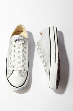 Since it is the season to get dressy, even our casual kicks look better in metallics.  Converse Metallic Sneaker ($75)