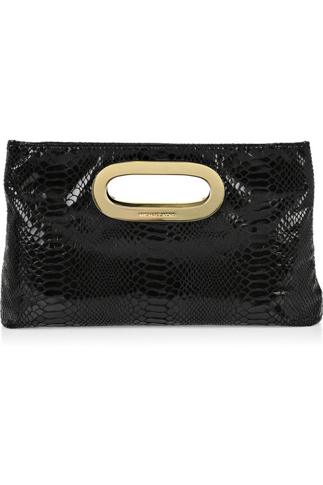 Michael Michael Kors Python Print Leather Clutch ($205)